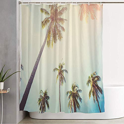 """Shower Curtain for Bathroom California Palm Trees Against Blue Sky Toned Nature Parks Escape Travel Adventure Beach Coconut Funny Shower Curtain Water Proof Bath Curtain with Hooks 72"""" x 78"""""""