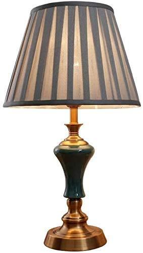 CX Lámparas de Escritorio Lámpara de Mesa de Estilo Europeo Cerámica Verde Glaze Hecho a Mano Dormitorio Lámpara de Noche - 360 Iluminación Lámpara de Mesa de Hierro Forjado 56 * 33 cm Lámpar