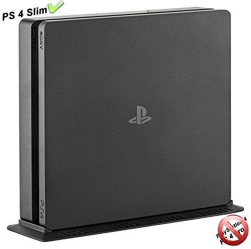 GAMINGER PS4 Slim Standfuss Vertikal Stand - Besonders stabil durch Schraube, mit extra Lüftungsschlitzen für Playstation 4, Schwarz