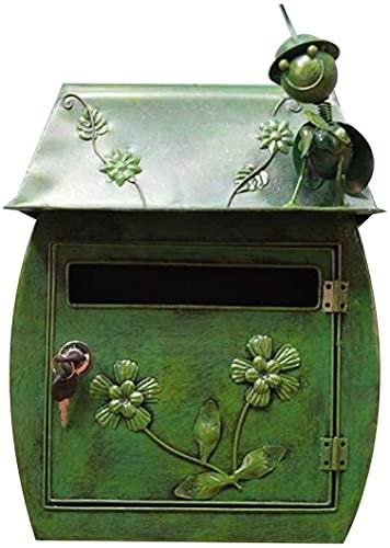 Awningcranks Decoración de Pared Retro de jardín Buzón de Correo Antiguo Buzón de Correo Colgante de Pared de jardín Buzón de decoración de buzón de Hierro(Color:Green)