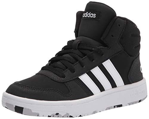 adidas Hoops 2.0 Mid Indoor Court Shoe, Black/White/Black, 10.5 US Unisex Little Kid