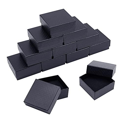 NBEADS 12 Cajas 7.5x7.5x3.5cm,Caja de Regalo Cuadrada Negra con Esponja para Joyas, Collares, Manualidades, cumpleaños, Navidad, Festival, exhibición y Almacenamiento