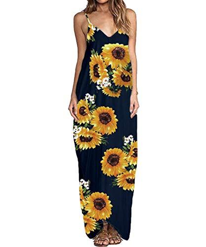 ZANZEA Sommerkleid Damen Ärmellose Maxikleid Blumen Langes Kleid V Ausschnitt Strandkleid Trägerkleid Casual, EU 44 / Etikett XXL, 06-marine