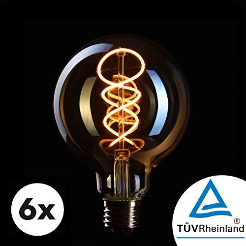 CROWN LED 6 x Edison Glühbirne E27 Fassung, Dimmbar, 4W, 2200K, Warmweiß, 230V, EL19, Antike Filament Beleuchtung im Retro Vintage Look