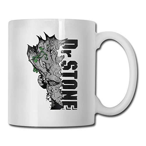 N\A Dr Stone Senku Logo Home Tasse à thé en céramique Tasse à café Blanche de Bureau 11 oz