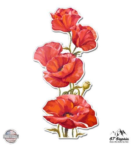 GT Graphics Poppies Watercolor Beautiful Poppy Flowers - Vinyl Sticker Waterproof Decal