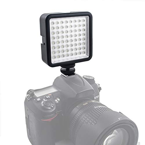 LED 64 USB Videobeleuchtung Continuous On Camera LED-Panel-Licht Tragbarer Mini-Dimmbarer Camcorder für Canon/Nikon/Sony (Black)