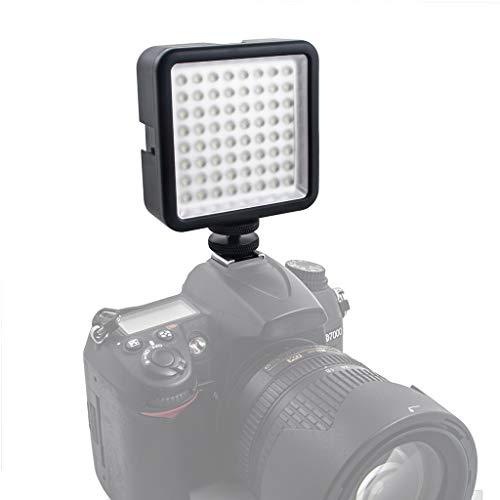 LED 64 USB Videobeleuchtung Continuous On Camera LED-Panel-Licht Tragbarer Mini-Dimmbarer Camcorder für Canon/Nikon/Sony (Black)