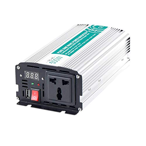 QTCD Inversor de Corriente de 500 W / 600 W, inversor de Onda sinusoidal Pura de 12 V / 24 V / 48 V CC a CA con Pantalla LED, Enchufe de CA y Puerto USB, para RV, camión, Viaje, hogar, Solar