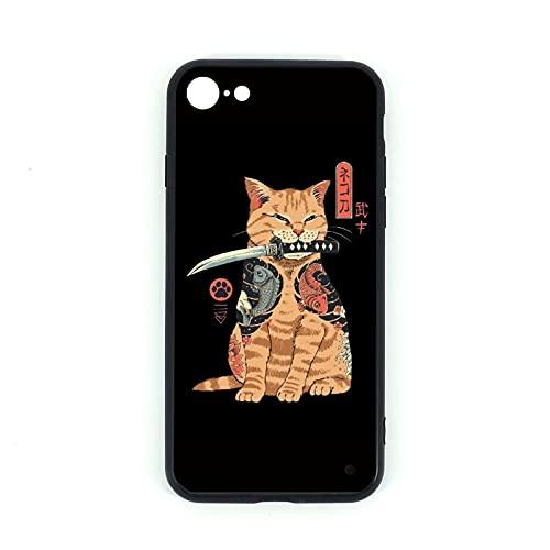 iPhone 7/8 Cassa Del Telefono Catana, Silicone TPU Vetro Temperato Casi Posteriore Cover per iphone 7 iphone 8