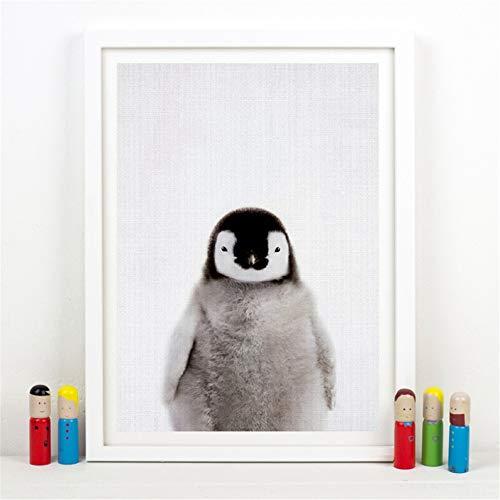 Danjiao Pinguin Leinwand Poster Kindergarten Wand Kunstdruck Tierbaby Pinguin Malerei Nordic Bild Kinder Schlafzimmer Wanddekoration Wohnzimmer 40x60cm