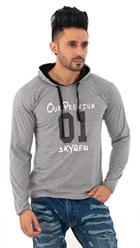SKYBEN Men's Regular Fit Hooded T-Shirt (SKY-HOOD-LG01-XS_Light Grey_X-Small)