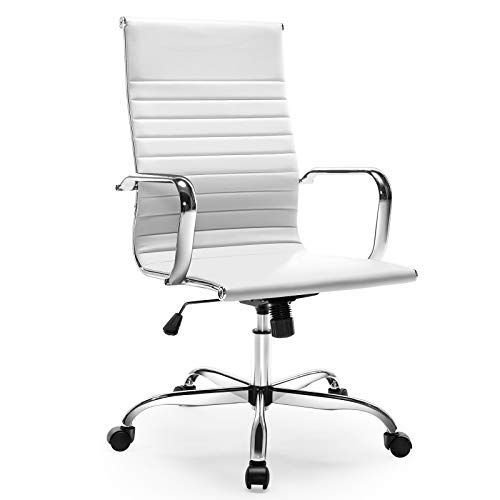 Office Chair, Ergonomic Office Desk Chair, Executive Ribbed Conference Home Office High Back Computer Chair with Pu Leather Lumbar Support Footrest Arms Wheels (White)