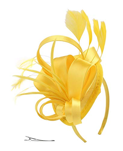 FELIZHOUSE Fascinator Hats for Women Ladies Feather Cocktail Party Hats Bridal Headpieces Kentucky Derby Ascot Fascinator Headband (#1 Satin Yellow)