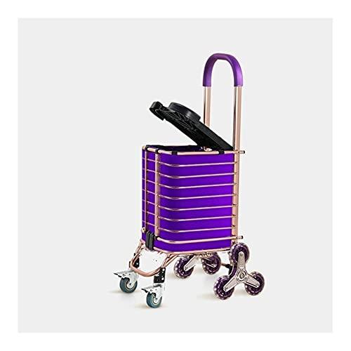 WANGYIYI Carrito de Compras Plegable Carretilla de Mano de aleación de Aluminio Ruedas de rotación de 360 ° Carritos de Compra con Tapa para Hombre Mayor y niño Subir escaleras (Color : Purple)