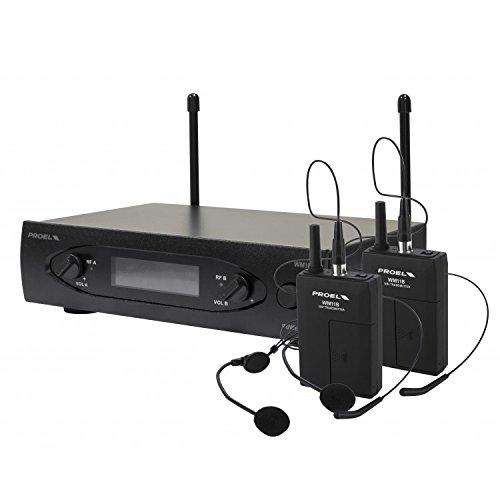 Proel WM101DH Sistema de micrófono inalámbrico de doble canal con 2 micrófonos de auriculares