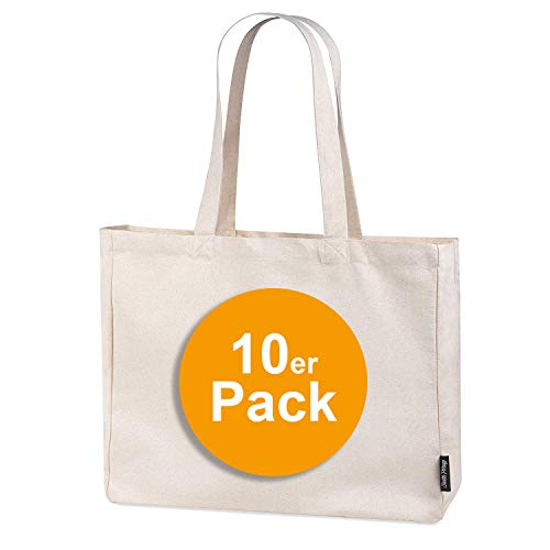 10er Pack stabile 300 g/m² Einkaufstasche aus Bio-Baumwolle in Premium-Qualität Jutebeutel Tragetasche Stoffbeutel Shopper (10)