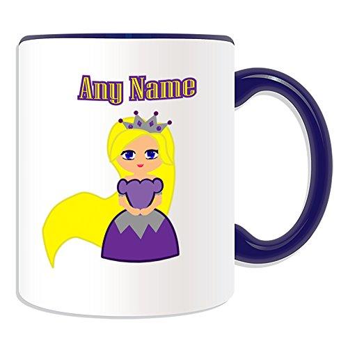 UNIGIFT gepersonaliseerd geschenk - prinses Rapunzel in paarse jurk mok (luchtig verhaal ontwerp thema, kleur opties) - elke naam/boodschap op uw unieke - kroon Tangled lang haar blond