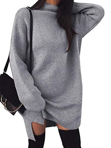 Minetom Damen Pullover Kleider Mode Minikleid Winterkleider Strickkleider Langarm Warm Oversize Stricksweat Strickpullover Lose Sweatkleid Grau DE 40