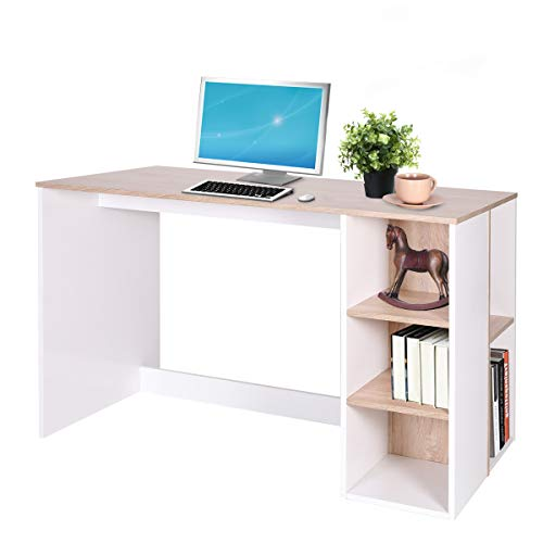 Coavas Bicolor Writing-Computer Desk with Storage, Large Students-Study Desk with 5 Shelves Home-Office PC Laptop Table Modern Wood Workstation with Integrated Bookcase, Oak & White