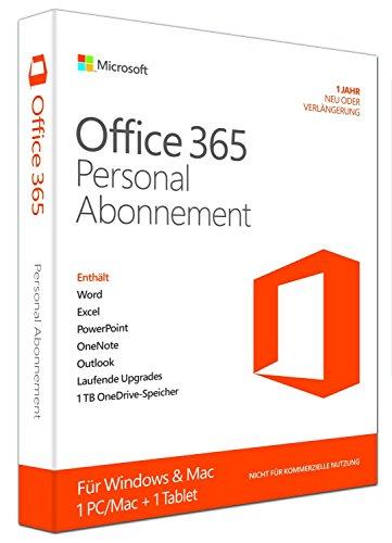 Preisvergleich Produktbild Microsoft Office 365 Personal - Abonnement-Lizenz (1 Jahr) - 1 Tablet,  1 PC / Mac - gehostet - Download - 32 / 64-bit,  ESD,  Click-to-Run