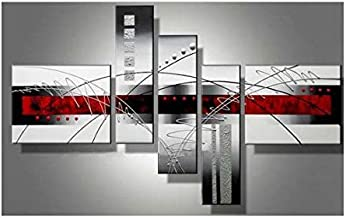 Wieco Art - Extra Large Size 5 Piece Perfect White Lines Modern Stretched and Framed Artwork 100% Hand-Painted Abstract Oi...