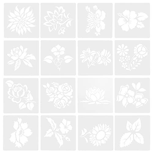 Artibetter Plantilla de Plantilla de Plantilla de Plantilla de Hoja Floral Primavera Verano Plantilla de Dibujo de Pintura Reutilizable para Pintura en Cartel de Madera Decoración de Pared