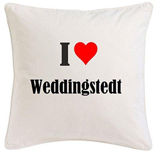 Kissenbezug I Love Weddingstedt 40cmx40cm aus Mikrofaser geschmackvolle Dekoration für jedes Wohnzimmer oder Schlafzimmer in Weiß mit Reißverschluss