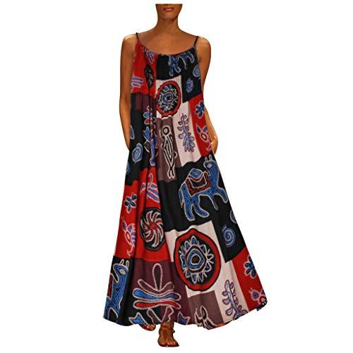 WGNNAA Damen Elegant Kleid Plus Size Schlingenkleid Tunika Kleid Spaghettiträger Kleid 2020 Sommerkleid Streetwear Kleid Retro Boho Drucken Maxikleid Festliche Racerback Ärmellos Baggy