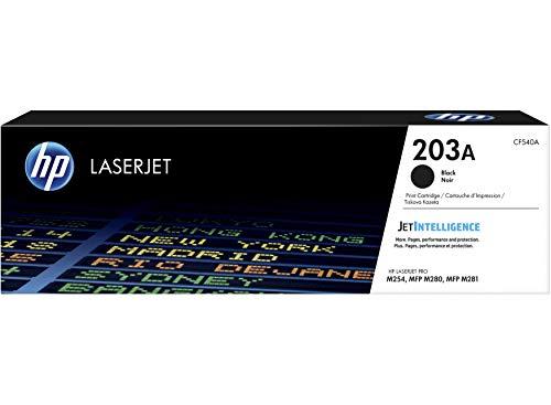 HP 203A CF540A, Negro, Cartucho Tóner Original, de 1.400 páginas, para impresoras HP Color LaserJet Pro serie 254, 280 y 281