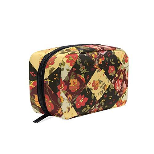 Trousse de maquillage plaid patchwork fleur pochette cosmétique pochette