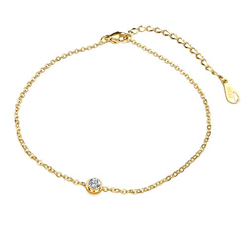 QJLE Women Dainty Anklet,Cubic Zirconia 18K Gold Plated Boho...