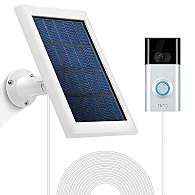 OLAIKE Solar Panel for R i n g Video Doorbell 2/3/3Plus with Secure Wall Mount,Weatherproof Continuous Charging for Maximum Efficiency,5V/3.5W(Max)Output,3.8M/12ft Power Cable(No Include Camera),White