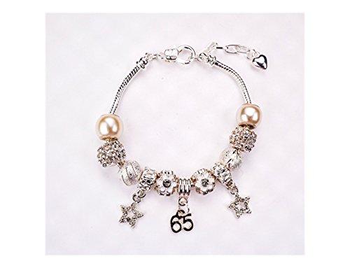 Sixty Fünfte Silber Geburtstag Charme Armband für Frauen/Mädchen mit 11Kristall & Silber Charms und Präsentation Schmuck Caddy Plus ein Geschenk erhalten Karte.