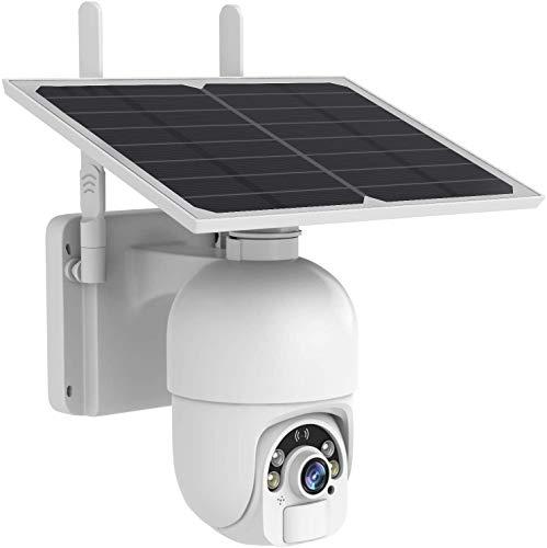 Sdeter Cámara wifi externa inalámbrica con panel solar, 1080P Pan & °Tilt Cámara de seguridad inalámbrica, carcasa de metal, sensor de movimiento PIR, audio de 2 vías.