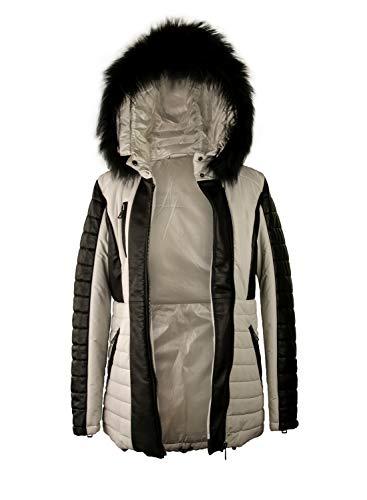 Zerimar Abrigo Piel Mujer | Chaqueta Cuero Mujer | Abrigo de Pelo | Abrigo Cuello Zorro | Chaqueta Piel Larga Mujer | Abrigo Elegante Mujer | Abrigo Plumon Mujer Casual | Color: Blanco y Negro