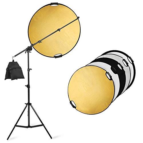 Selens 5-in-1 80cm Reflektor Fotografie Rund Faltreflektor + 200cm Lichtständer + Sandsack + ausziehbarem Halter, Tragebar Diffusor Gold/Silber/Weiß/Schwarz und Transparent Reflektor mit Griff