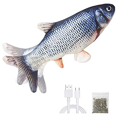 EaMien Catnip Fish Toys for Cats, Realistic Plush Electric Wagging Funny Fish Toys Chew Simulation Interactive Toys for Indoor Cats Pets Kitten, Perfect for Biting, Chew and Kicking (Catfish)