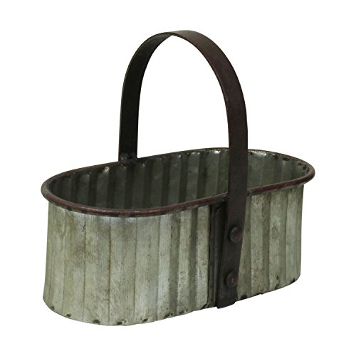 PDHome Metal Oval Caddy With Handle - Rustic Farmhouse Style