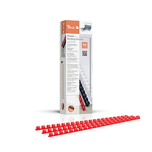 Peach PB408-03 Plastikbinderücken DIN A4, 8 mm, 45 Blatt, 100 Stück, rot