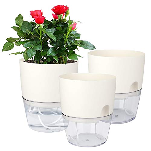 Vanavazon 6 Inch Self Watering Planter Pots for Indoor Plants, 3 Pack African Violet Pots with Wick Rope-White