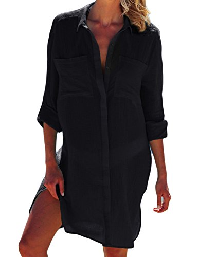 Bsubseach Mujer Vestido de Playa Raya Negra Encubrimiento Traje de Baño Camisa Larga con Bolsillo Camisola de Playa Cover up