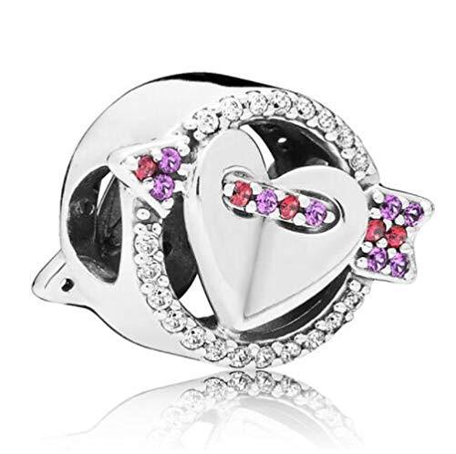 WUXEGHK Encanto De Plata De Ley 925 El Momento En Que Te Enamoraste Flecha Brillante Y Cuentas De Corazón Fit Pan Pulsera DIY Jewelry
