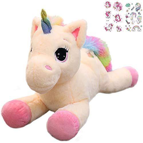 Georgie Porgy Niños Unicornio De Peluche con Cola Arcoiris Multicolor Pony De Peluche Regalos de Peluche para Niñas Mayores de 3 Años (Rosado 15)