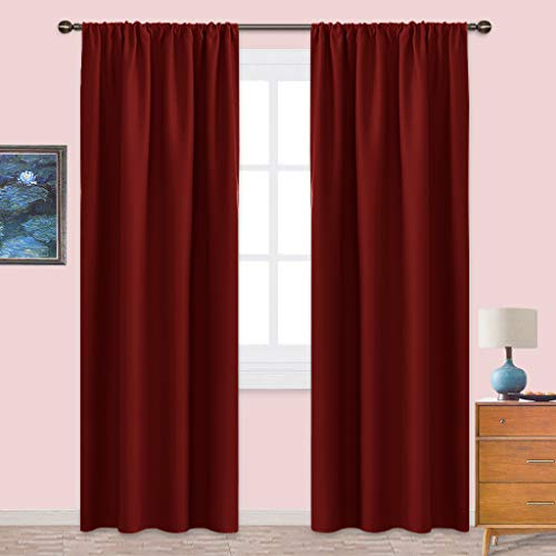 NICETOWN Burgundy Curtains Blackout Drapes - Home Decorations Thermal Insulated Solid Blackout Living Room Curtains/Draperies for Present (1 Set, 42 x 84 inches, Red)