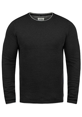 Blend Odin Herren Strickpullover Feinstrick Pullover Mit Rundhals Aus 100% Baumwolle, Größe:M, Farbe:Black (70155)
