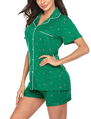Ekouaer Christmas Pajamas Set Short Sleeve Womens Christmas Pajama Short Set PJs