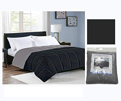 COMERCIAL CANDELA FELPUDOS Y ALFOMBRAS Edredón Nórdico Reversible Colores 350gr Relleno de Fibra Hueca Color (Negro/Gris, Cama 150)