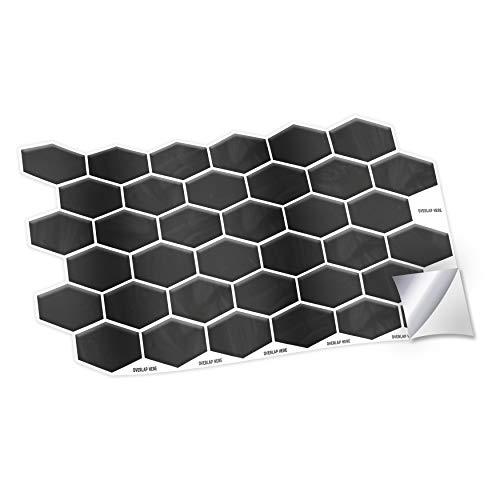 WALPLUS 28,5 x 14 cm @ 12 pegatinas de pared con forma de panal negro brillante hexa, para azulejos de cocina, baño, transferencia de azulejos