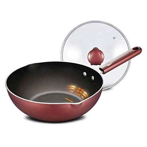 IUYJVR Sartén Antiadherente Sartén Sartén de Aluminio de Primera Calidad con Tapa de Vidrio y asa - Superficie Antiadherente para saltear Ideal para cocinar Huevos o Tortillas